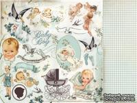 Двусторонний лист бумаги от Kaisercraft - Bundle of Joy - Booties, 30х30 см