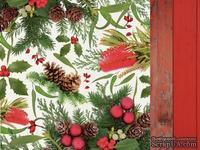 Двусторонний лист скрапбумаги от Kaisercraft - Basecoat Christmas Collection - Flora, 30 x 30 см.