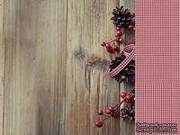 Двусторонний лист скрапбумаги от Kaisercraft - Basecoat Christmas Collection - Berry, 30 x 30 см.