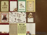 Лист скрапбумаги от Kaisercraft - Teddy Bears Picnic Collection-  Bear Love,  двустронний, 30х30 см