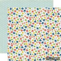 Лист двусторонней скрапбумаги Little Flowers, Paper & Glue, Echo Park, 30х30 см