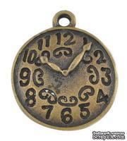 """Металлическое украшение """"Часы"""", античное золото, размер 22х18 мм, 1 шт"""