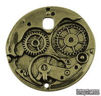 """Металлическое украшение """"Часовой механизм"""", античная бронза, размер 38х38 мм, 1 шт"""