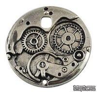 """Металлическое украшение """"Часовой механизм"""", античное серебро, размер 38х38 мм, 1 шт"""