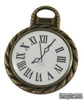 "Металлическое украшение ""Часы"", античная бронза, размер 26х20 мм, 1 шт"