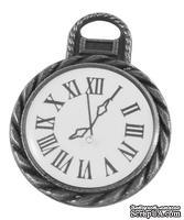 """Металлическое украшение """"Часы"""", античное серебро, размер 26х20 мм, 1 шт"""