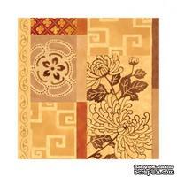 """Салфетка """"Цветочный мотив"""", цвет фона: коричневый, размер: 33х33 см"""