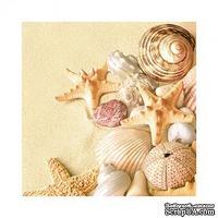 "Салфетка ""Морские раковины и звезды на песке"", размер: 33х33 см"