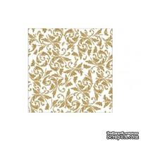 """Салфетка """"Узор арабеска"""", цвет фона: белый/золотистый, размер: 33х33 см"""
