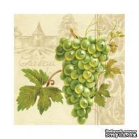 """Салфетка """"Виноградная гроздь"""", цвет фона: кремовый, размер: 33х33 см, 20 шт"""
