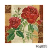 """Салфетка """"Ветка красной розы"""", размер: 33х33 см, 1 шт"""