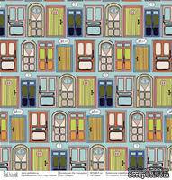 Лист бумаги для скрапбукинга  от Polkadot  -  Двери, коллекция На чемоданах, 30х30 см, плотность 190 гр\м2