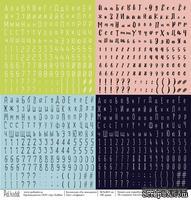 Лист бумаги для скрапбукинга от Polkadot  - Алфавит, коллекция На чемоданах, 30х30 см, плотность 190 гр\м2