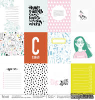Лист бумаги для скрапбукинга от Polkadot  - Карточки, коллекция Scrapgirl, 30х30 см, плотность 190 гр\м2
