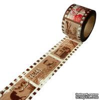 Широкий бумажный скотч на клеевой основе, коричневый с текстом, 30мм х 10м