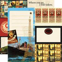 Лист скрапбумаги от Echo Park - All Aboard - двусторонняя, 30х30 см