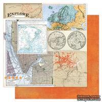 Лист двухсторонней бумаги Pink Paislee - No Limits Destinations, 30х30 см