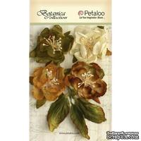 Набор объемных цветов Petaloo - Botanica Blooms x 4 - Ivory/Green/Brown