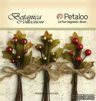 Набор объемных цветов Petaloo - Botanica Berry clusters x 3 - Red/Green/Burgundy