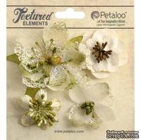 Набор объемных цветов Petaloo - Mixed Textured Blossoms x 4 - Ivory