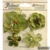 Набор объемных цветов Petaloo - Mixed Textured Blossoms x 4 - Moss Green