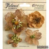 Набор объемных цветов Petaloo - Mixed Textured Blossoms x 4 - Mocha