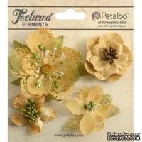 Набор объемных цветов Petaloo - Mixed Textured Blossoms x 4 - Amber