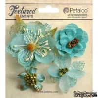 Набор объемных цветов Petaloo - Mixed Textured Blossoms x 4 - Teal