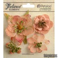 Набор объемных цветов Petaloo - Mixed Textured Blossoms x 4 - Apricot