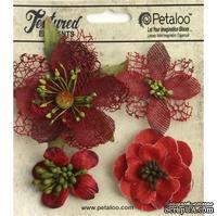 Набор объемных цветов Petaloo - Mixed Textured Blossoms x 4 - Red