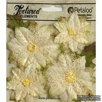 Набор объемных цветов (пуансеттии) Petaloo - Textured Poinsettias x 4 - Ivory