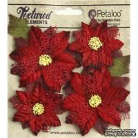 Набор объемных цветов (пуансеттии) Petaloo - Textured Poinsettias x 4 - Red