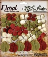 Набор цветов и листиков Petaloo - Darjeeling Hydrangea Burg/Cream/Green, 24 шт.
