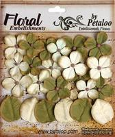 Набор цветов и листиков Petaloo - Darjeeling Hydrangea Cream/Green, 24 шт.