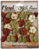 Набор цветов и листиков Petaloo - Darjeeling Petites Burg/Cream/Green, 24 шт.