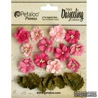 Набор цветов и листиков Petaloo - Petites - Teastained Pink