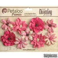 Набор объемных цветов Petaloo - Printed Darjeeling Collection - Wild Blossoms - Fuschia