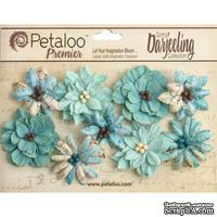 Набор объемных цветов Petaloo - Printed Darjeeling Collection - Wild Blossoms - Aqua
