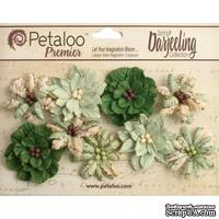 Набор объемных цветов Petaloo - Printed Darjeeling Collection - Wild Blossoms - Soft Green