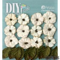 Набор цветов и листиков Petaloo - DIY - Petites x 24 - Teastained Cream