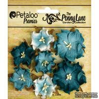 Набор объемных цветов (диких роз) Petaloo - Penny Lane Mini Wild Roses x7 - Teal