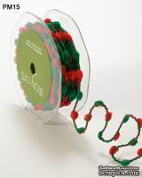 Лента Pom Poms/Wired, размер 10 мм, цвет: зеленый/красный, 90 см
