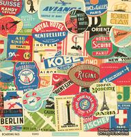 """Лист двусторонней скрапбумаги от October Afternoon - """"Boarding Pass"""" Collection - Tokyo, 30х30"""