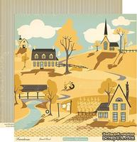 "Лист двусторонней скрапбумаги от October Afternoon - Farmhouse"" Collection - Gravel Road, 30х30"