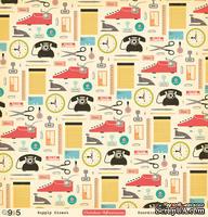 """Лист двусторонней скрапбумаги от October Afternoon - """"9 to 5"""" Collection -Supply Closet, 30х30"""