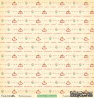 "Лист двусторонней скрапбумаги от October Afternoon - ""Cakewalk"" Collection - Buttercream, 30х30"