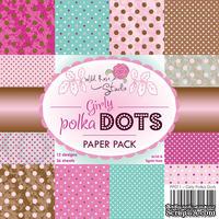 Набор односторонней бумаги от Wild Rose Studio - Girly Polka Dots Papers - 15х15 см