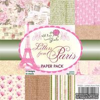 Набор бумаги от Wild Rose Studio - Letters from Paris - 15х15 см