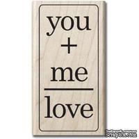 Резиновый штамп Hampton Art - You Me Love, на деревянном блоке