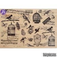 Резиновый штамп Hampton Art/7 gypsies - Bird Watching, на деревянном блоке